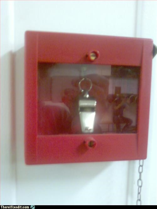 In case of fire use holy whistle and... run ?