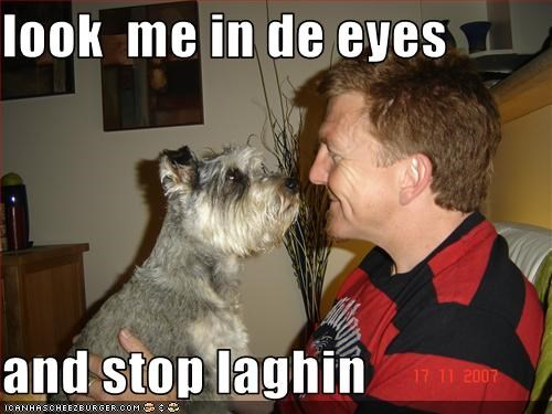 look  me in de eyes  and stop laghin