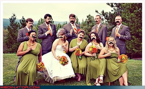 bride,burt reynolds,fashion is my passion,groom,hispters,mustache,mustaches on sticks,not funny,surprise,trendy,were-in-love,wedding party,Wedding Themes