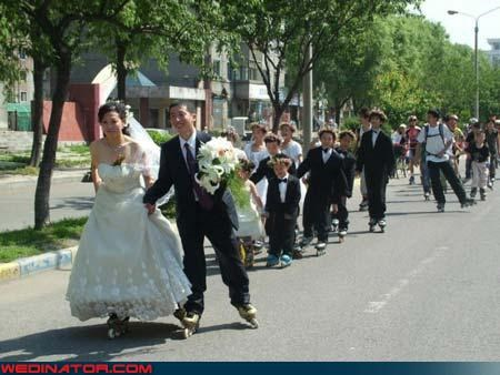 Crazy Brides,crazy groom,environmentally friendly,fashion is my passion,get this party started,on wheels,psa,rollerblades,Sheer Awesomeness,technical difficulties,to go,transportation,were-in-love,wedding party,Wedding Themes
