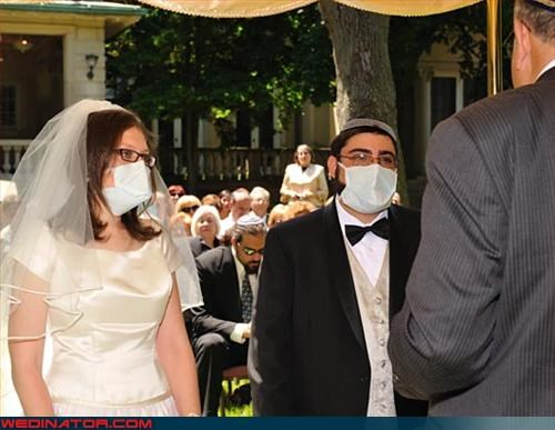 Crazy Brides,crazy groom,eww,germs,keep your distance,miscellaneous-oops,psa,sterile,surgical mask,surprise,swine flu,technical difficulties,were-in-love,Wedding Themes