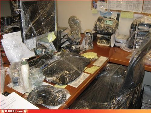 awesome co-workers not,boredom,chair,cling wrap,cubicle boredom,cubicle destruction,cubicle prank,desk,dickhead co-workers,dickheads,dumb,fax,furf durf durf doye buh buuuuh,lame,lotion,mess,plastic wrap,prank,pwned,rage,Sad,screw you,stupid unoriginal prank i hate you guys,unoriginal,wasteful,wiseass,wrapping