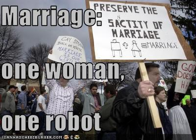 Marriage: one woman, one robot
