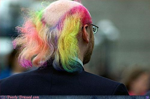 bald,mullets,multi-colored hair