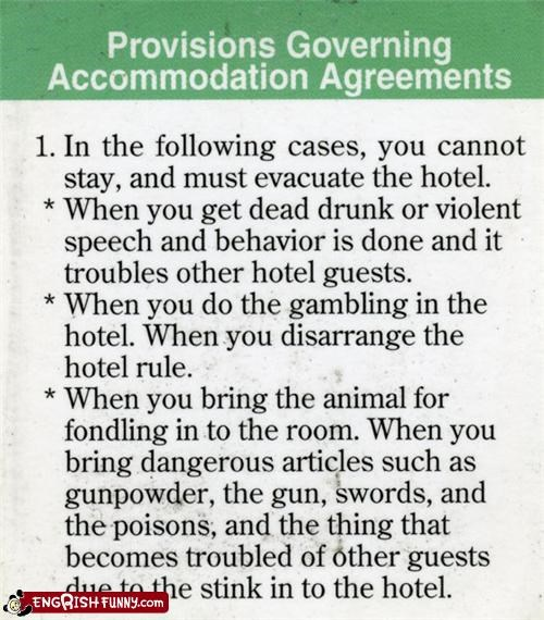 animals,hotel,posion,rules