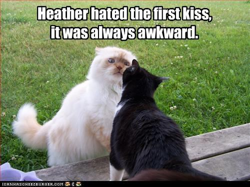 Heather hated the first kiss,  it was always awkward.
