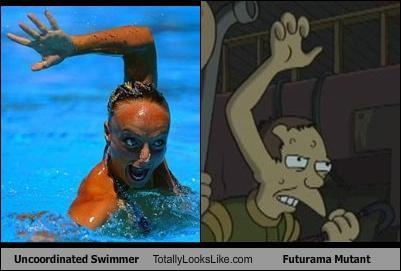 Uncoordinated Swimmer Totally Looks Like Futurama Mutant