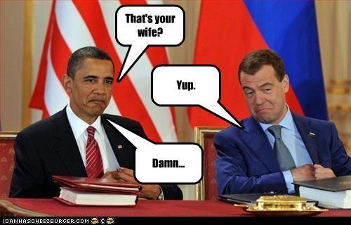 barack obama,Dmitry Medvedev,sexy,wife