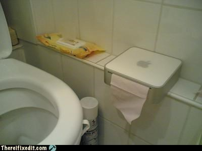 apple,bathroom,not intended use,recycling-is-good-right