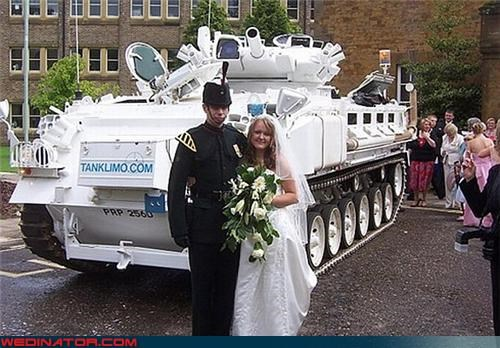 Crazy Brides,crazy groom,fashion is my passion,solid love,surprise,tank,tank commander,tank limo,were-in-love,Wedding Themes