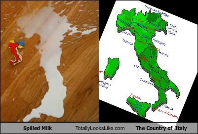 Spilled Milk Totally Looks Like The Country of  Italy