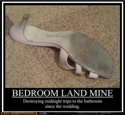 land mine,bedroom,high heels
