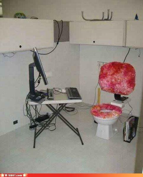 bathroom,bathroom office,bathroom politics,boredom,creativity in the workplace,cubicle boredom,cubicle prank,depressing,dickhead co-workers,efficient,ergonomics,gross,hardware,lazy,osha,prank,pwned,Sad,toilet cubicle,toilet graffiti,wash your hands,work smarter not harder,worst ever