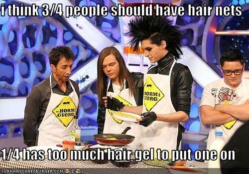 i think 3/4 people should have hair nets  1/4 has too much hair gel to put one on