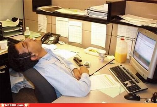 asleep,boredom,busted,caught in the act,cubicle boredom,cubicle fail,depressing,dickhead co-workers,disco nap,ergonomics,lazy,nap,nap time,neck injury,neck pain,Sad,sleeping,sleepy,snooze,wasteful,work smarter not harder