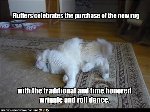 Fluffers celebrates the purchase of the new rug