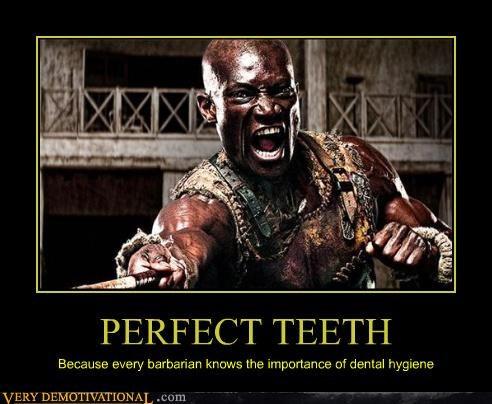 300,bleach,flossing,impossible,sparta,sword,teeth,toothpaste