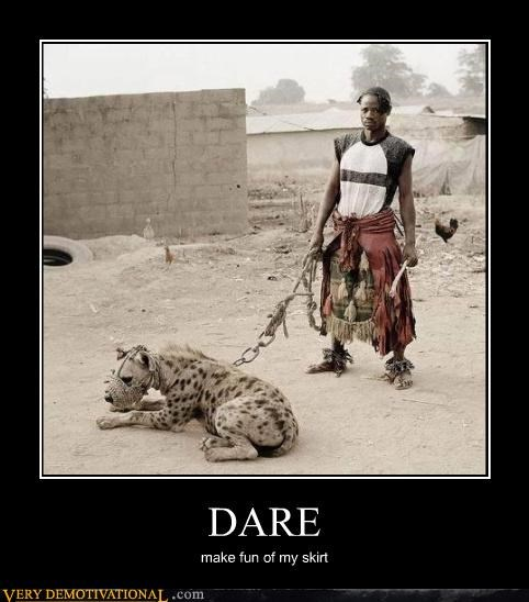 chicken,cross dressing,deadly cat,is-that-a-large-hyena-i-dont-know,skirt,Terrifying,tough guy