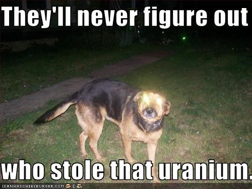 They'll never figure out   who stole that uranium.....