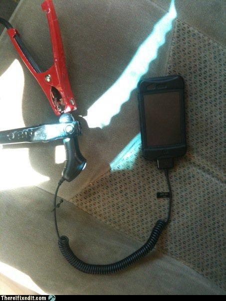 car charger,desperation,iphone,jumper cables