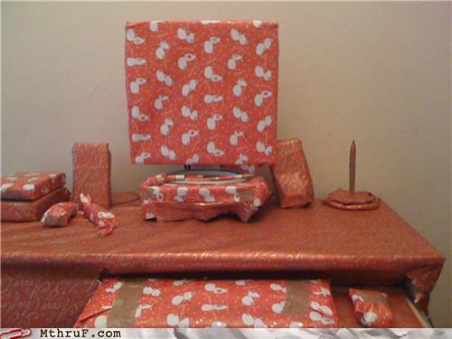 christmas,desk,funny,prank,wrapping paper