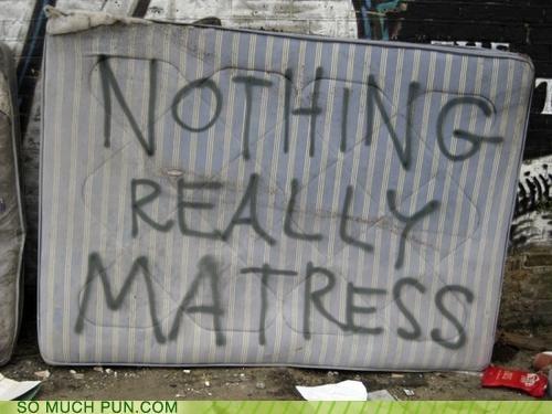 deep thought,garbage,graffiti,mattress