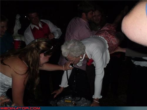 betty white,bride,encouragement,grandma,keg stand,satin,surprise,technical difficulties,wedding party