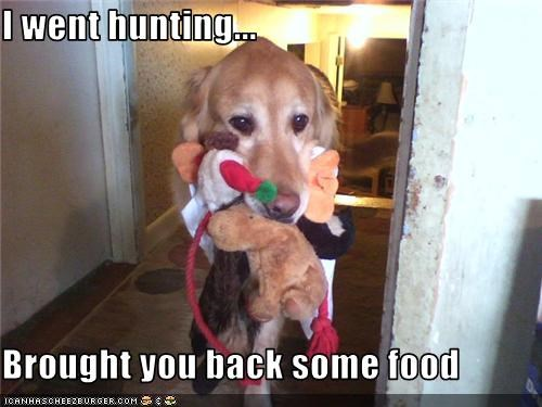 I went hunting...  Brought you back some food