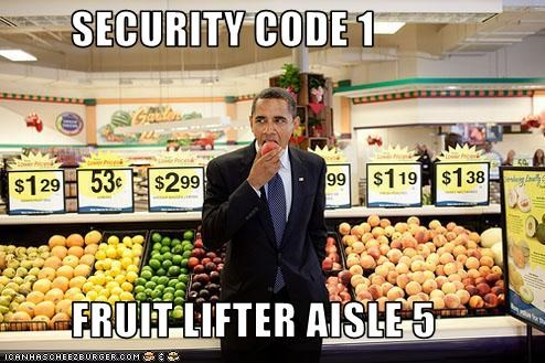 SECURITY CODE 1           FRUIT LIFTER AISLE 5