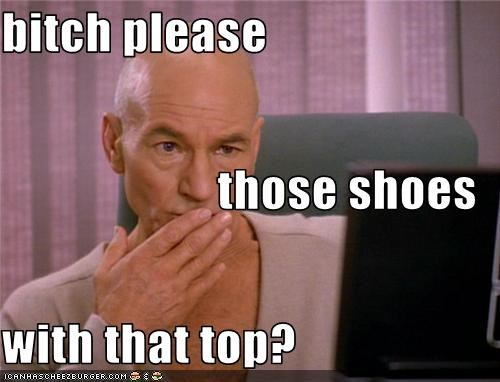 Captain Picard,fashion,patrick stewart,sci fi,Shatnerday,shoes,Star Trek