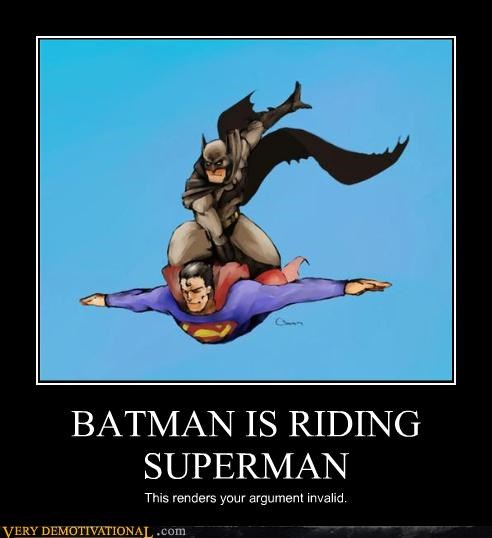 BATMAN IS RIDING SUPERMAN