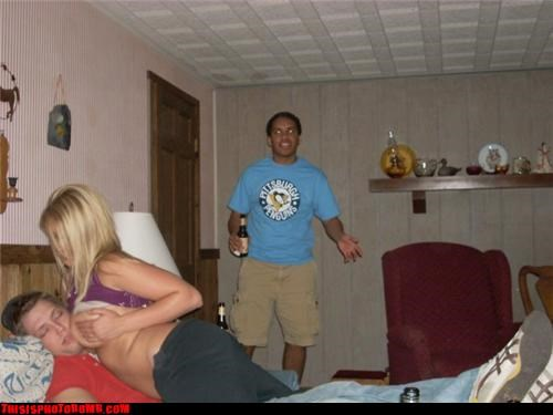 babe,beer,fun bags,passing out,photobomb,wtf