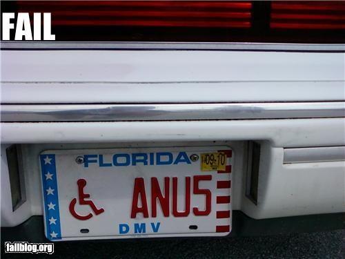 anus,car,failboat,handicapped,license plate