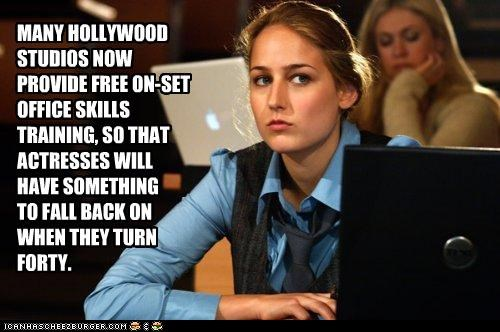 MANY HOLLYWOOD STUDIOS NOW  PROVIDE FREE ON-SET OFFICE SKILLS TRAINING, SO THAT ACTRESSES WILL HAVE SOMETHING  TO FALL BACK ON WHEN THEY TURN FORTY.