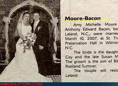 awesomeness,bacon,breakfast for dinner,bride,groom,miscellaneous-oops,pun,surprise,were-in-love,Wedding Announcement