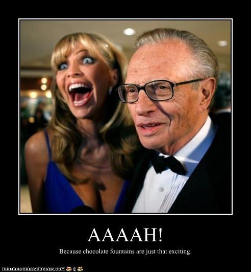 chocolate,excitement,host,Larry King,mouth,old,shawn king,talk show,trophy wife