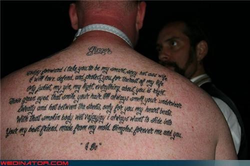 back piece,crazy groom,forever,I Do,pegasus,permanent,surprise,tattoo,technical difficulties,Wedding Themes,wedding vows tattoo,wtf
