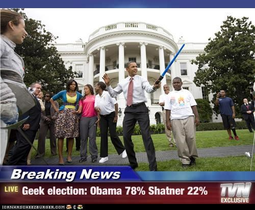 Breaking News - Geek election: Obama 78% Shatner 22%