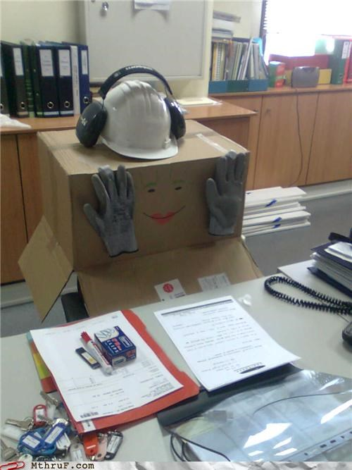 box,cardboard,decoy,fake,gloves,hard hat,nice try,not sneaky,wiseass