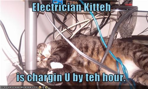 Electrician Kitteh  is chargin U by teh hour.