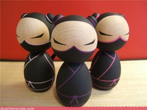 art,buns,dangerous,figurine,girl,ninja,Painted,statue,wood