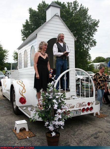 awesome graphics,bride-to-be,church on wheels,Crazy Brides,groom search,hippies,quickie ceremony,surprise,Wedding Themes
