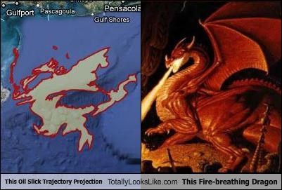 dragon,fire,Maps,mythology,news,oil slick