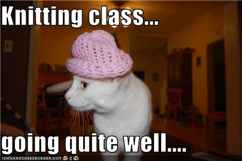 Knitting class...  going quite well....
