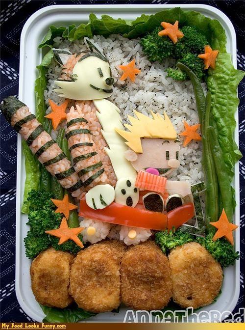 bento,bento box,box,calvin,calvin and hobbes,cartoons,comic strip,hobbes,rice
