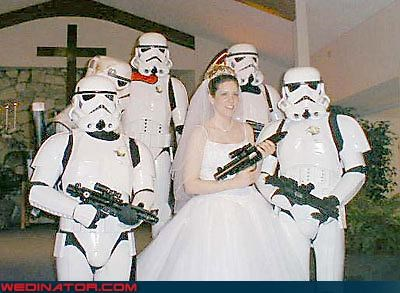 badass bride,blaster,bride,costume,fashion is my passion,groom,highly formal,star wars,stormtrooper,themed wedding party,were-in-love,wedding party,Wedding Themes