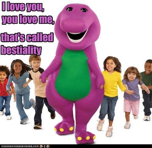 barney,childrens tv,creepy,dinosaurs,gross,pedobear