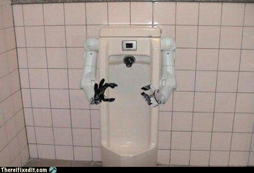creepy,drunk,public bathroom,robot,urinal
