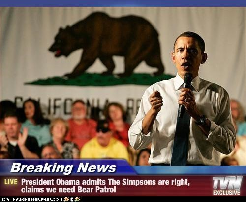 Breaking News - President Obama admits The Simpsons are right, claims we need Bear Patrol
