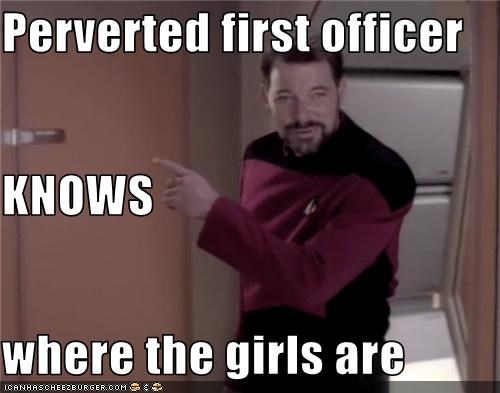 Perverted first officer KNOWS where the girls are